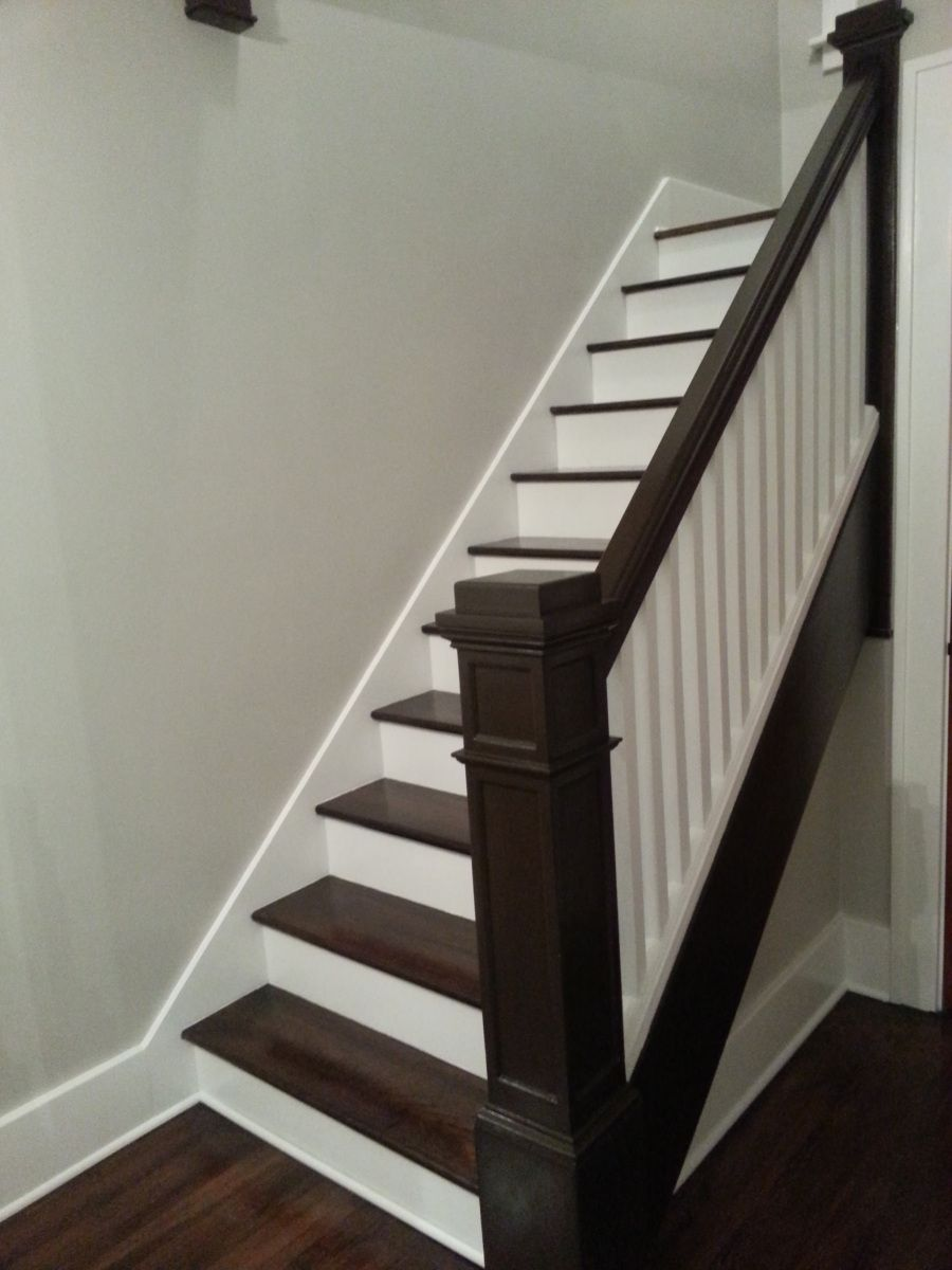 Refinishing Stairs Dark Stain White Risers Antique Walnut