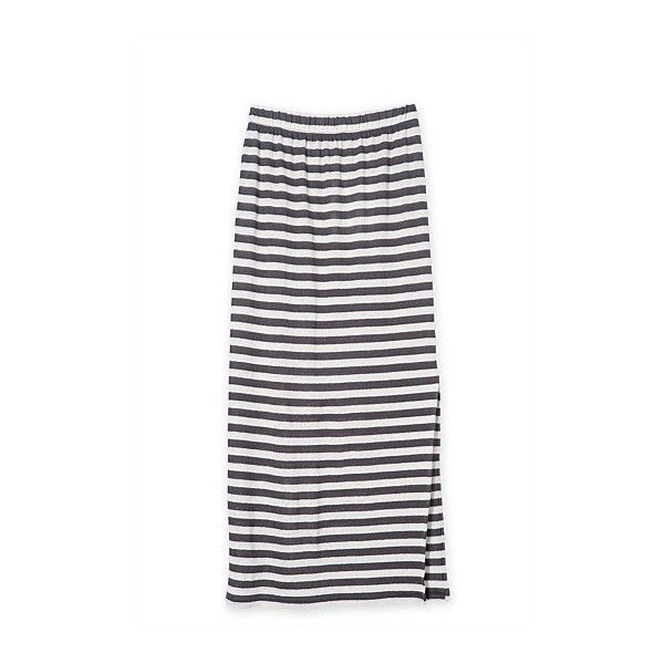 Stripe Maxi Skirt (60 CAD) ❤ liked on Polyvore featuring skirts, striped skirt, long white skirt, ankle length skirt, floor length skirt and striped maxi skirt