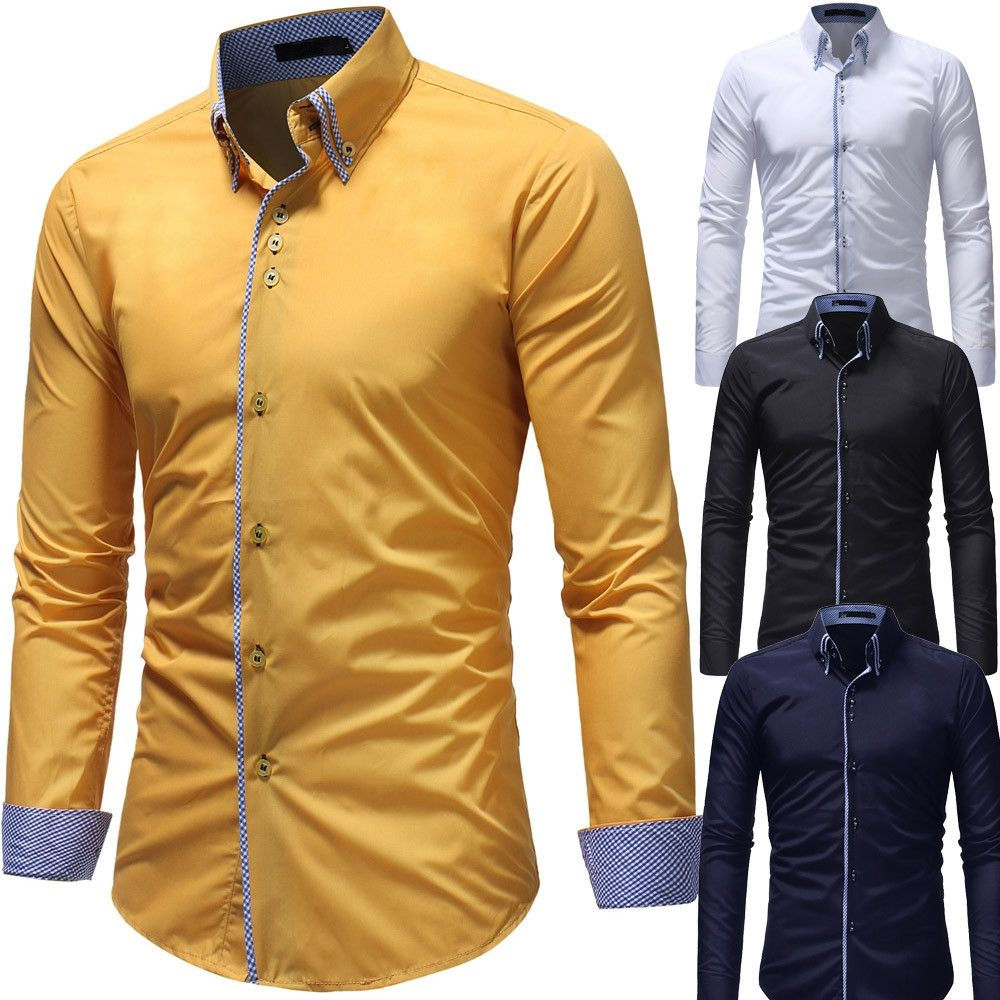 High Quality New Men's Autumn Casual Formal Slim Button Down Long Sleeve Dress Shirts Drop Shipping...