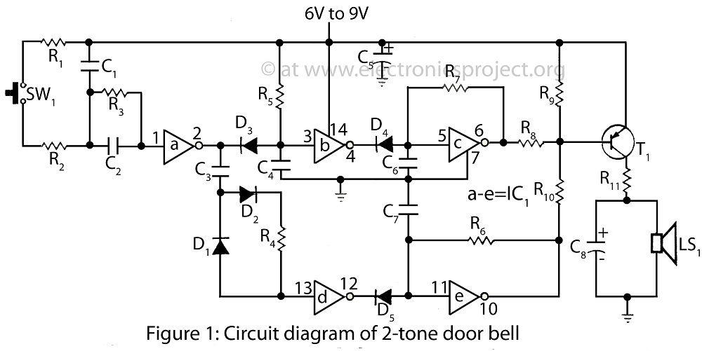 circuit diagram of 2 tone door bell | electronics | Pinterest ...