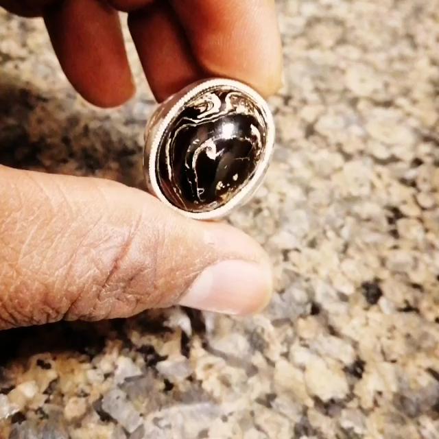 خاتم رسمي بحجر يسر بحري فاخرة مميز طبيعي100 Video Healing Codes Silver Rings Rings