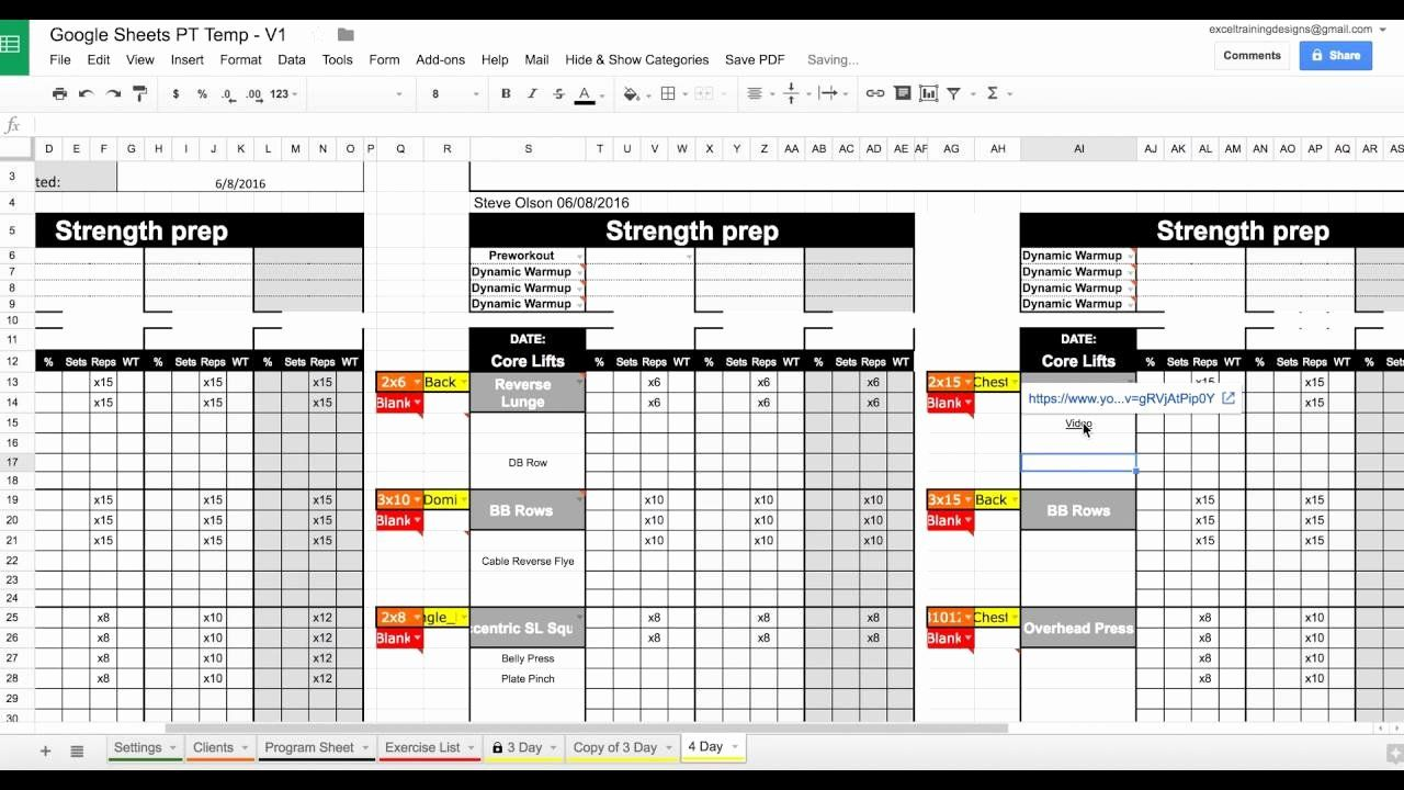 Personal Trainer Workout Plan Template Luxury Setting Up Your Google Sheets Personal Training Tem Workout Plan Template Personalized Workout Plan Training Plan