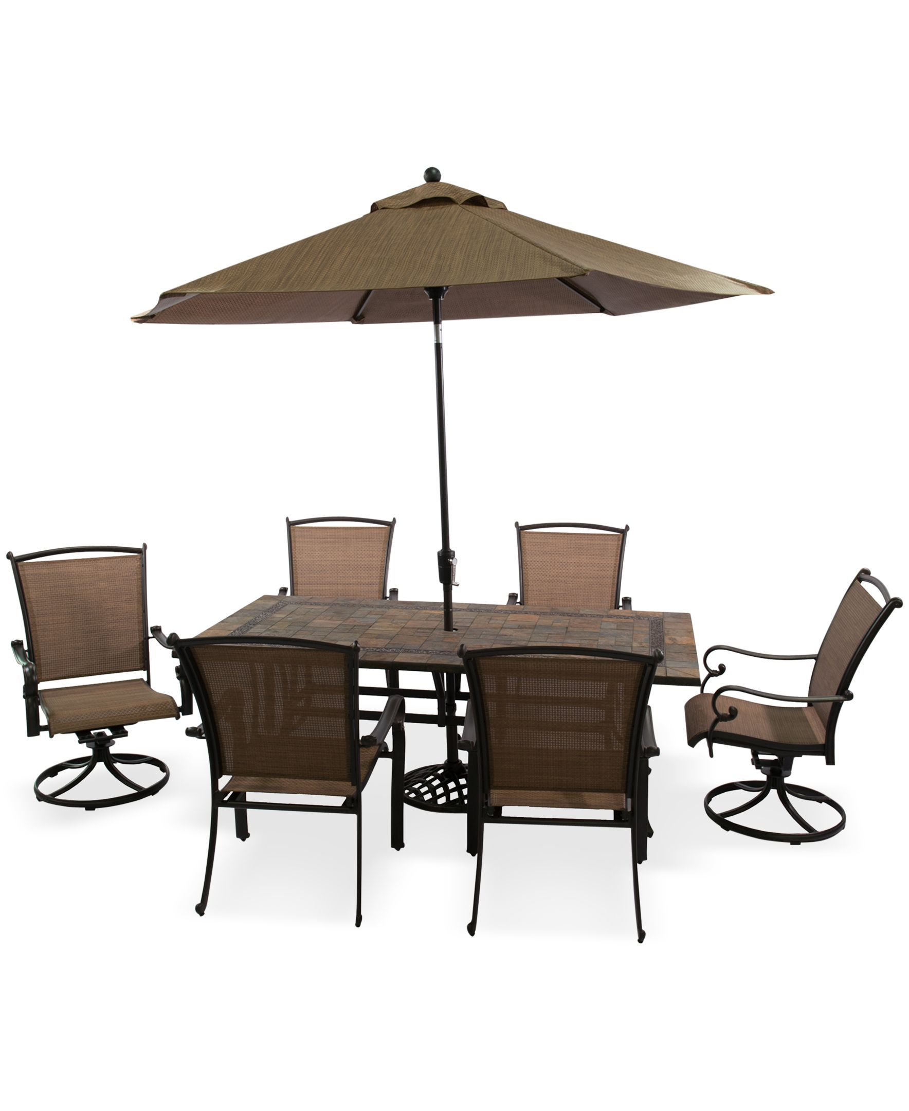 Paradise outdoor 7 piece dining set 80 x 40 stone top table 4 dining chairs and 2 swivel chairs