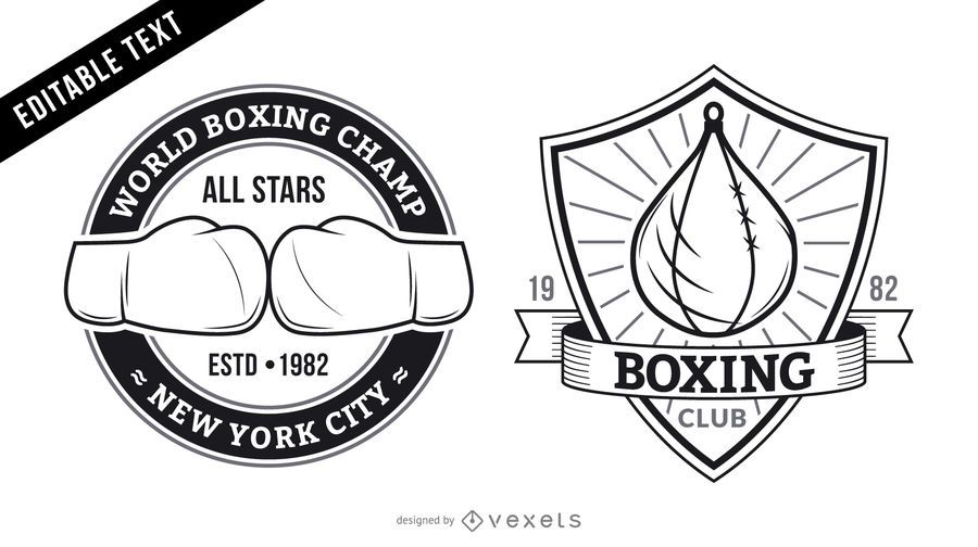 Set of boxing logos with editable text. The logos feature