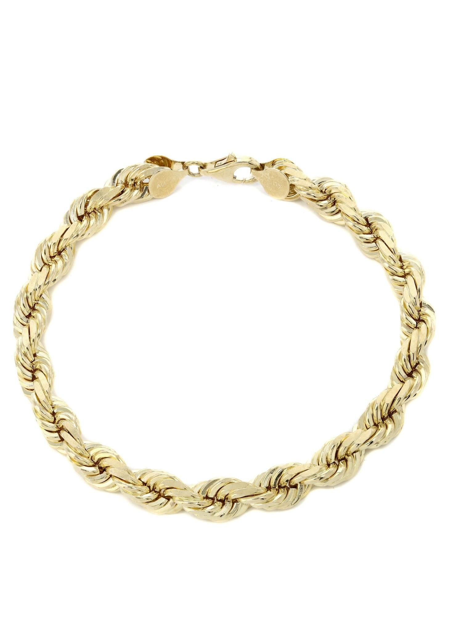 Solid Mens Rope Bracelet 10k Yellow Gold Frosting Bracelets And Gold