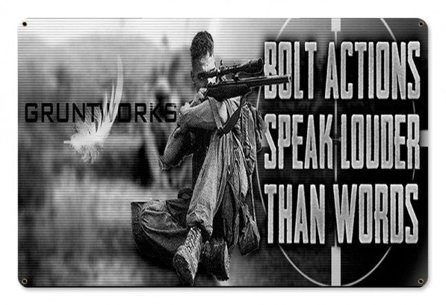 Bolt Actions Metal Wall Sign - Gruntworks11b
