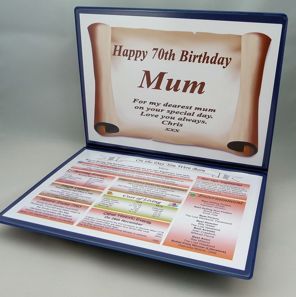 70th birthday gift fully personalised item the day you