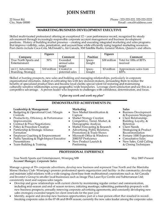 Click Here to Download this Business Development Executive Resume - sales manager objective for resume