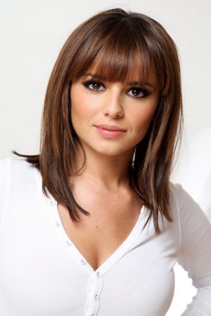 shoulder length haircut with side bangs medium length hairstyles with bangs for hair 1375