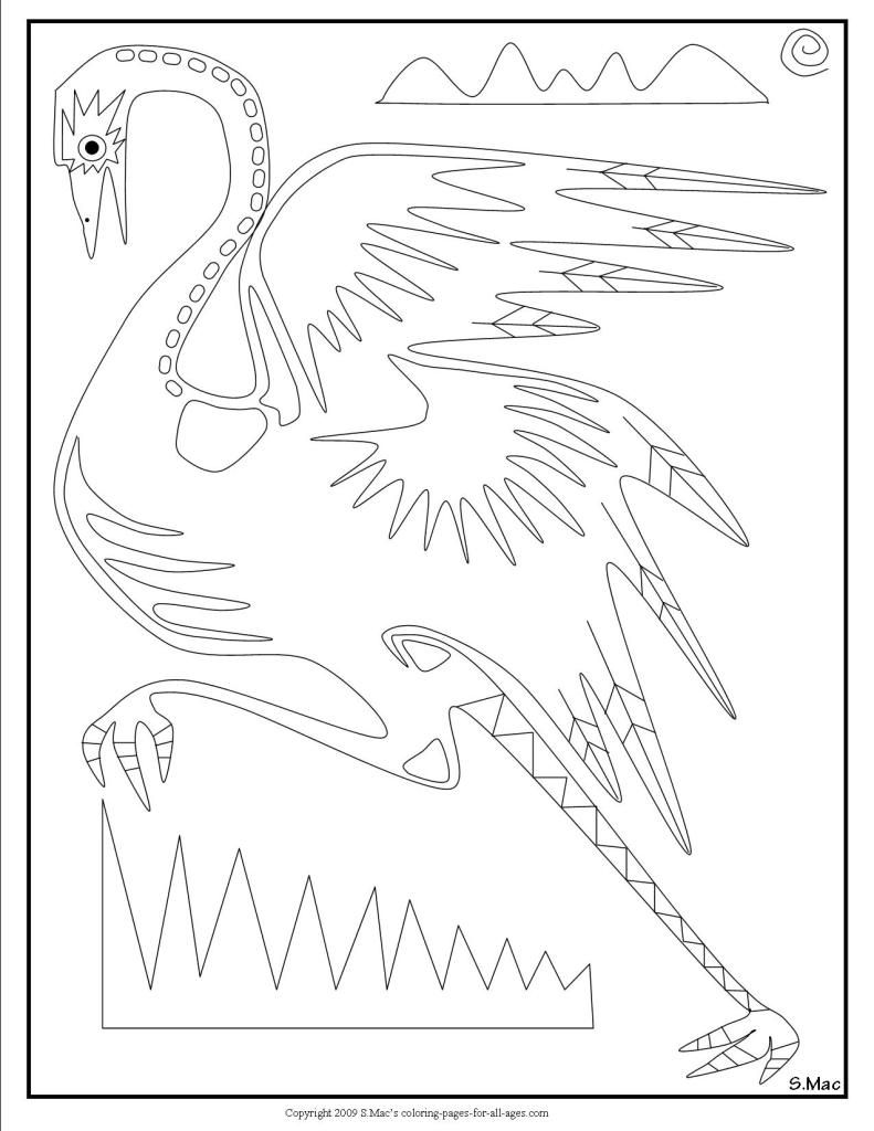 S Mac S X Ray Art Emu Coloring Page Xray Art Coloring Pages Tribal Drawings