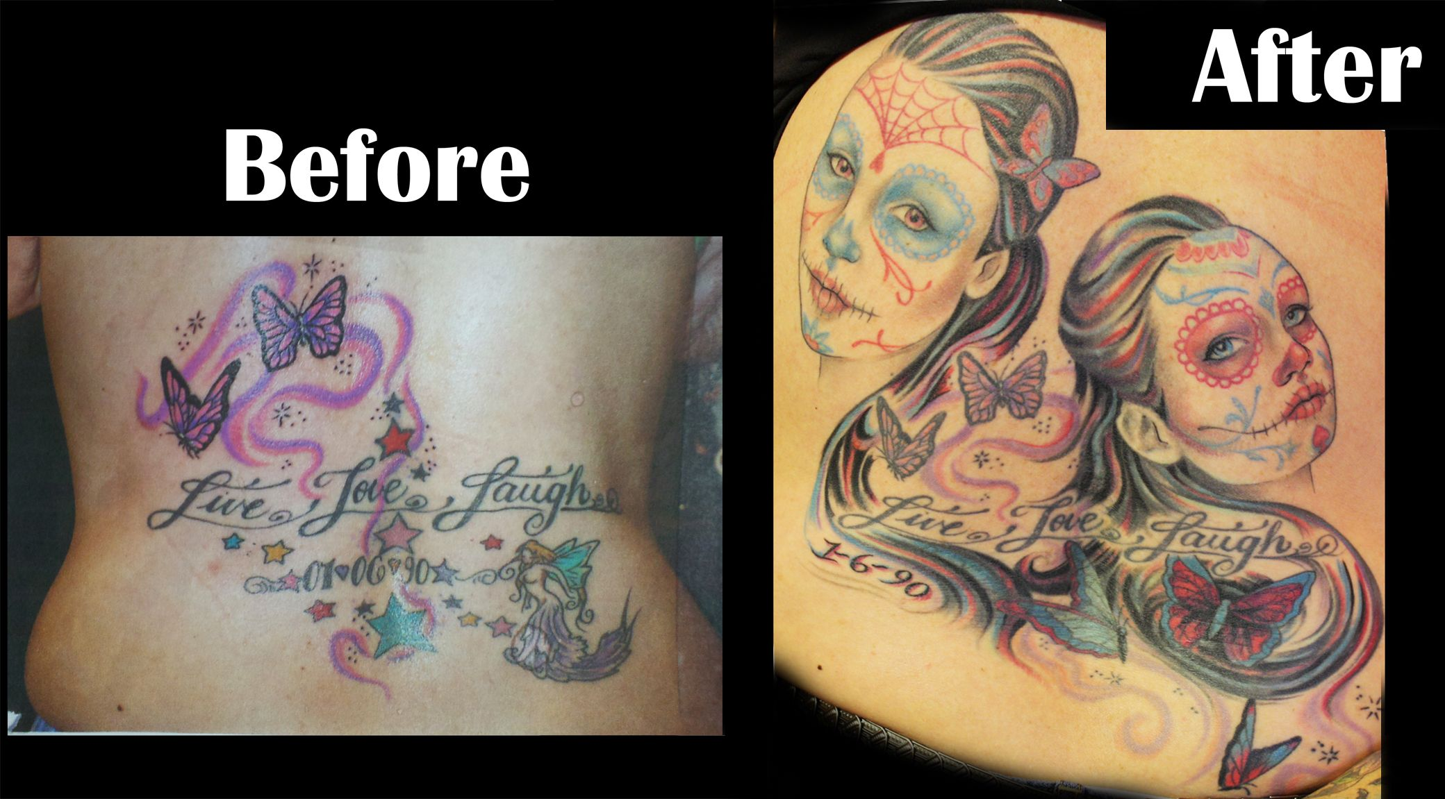 Before and after tattoo cover up tattoo sugar skulls