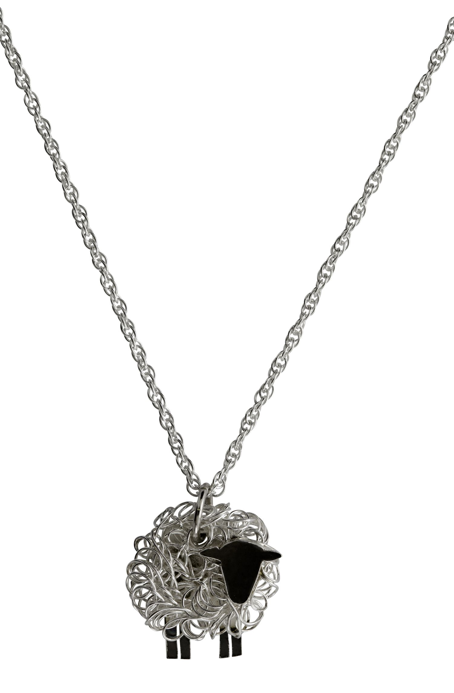 Handcrafted Silver Sheep Necklace Facing Right