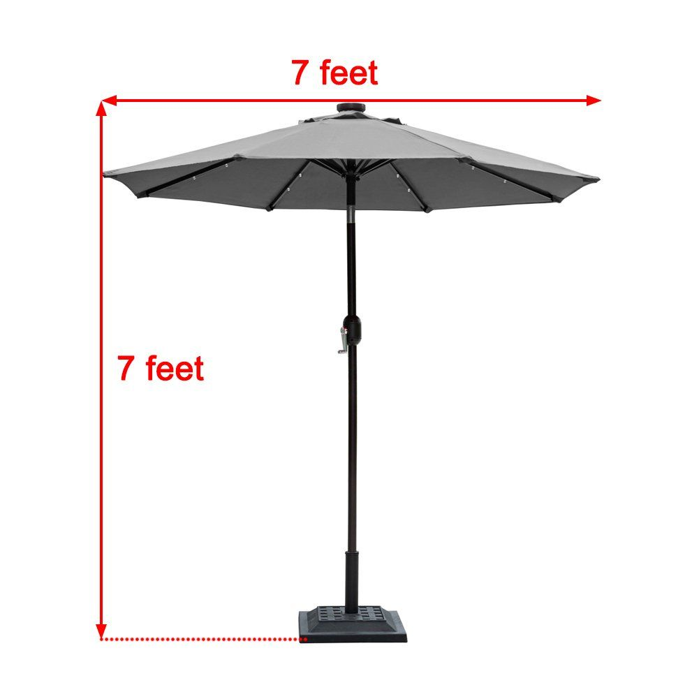 Sundale Outdoor 7 Ft Solar Powered 24 Led Lighted Patio Umbrella
