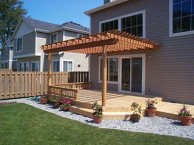 Pergola Attached To House Over Part Of Deck Small Backyard Decks