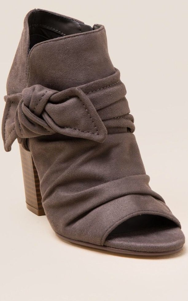 INDIGO RD IZADOR PEEP TOE BOW BOOTIE in dark grey $58