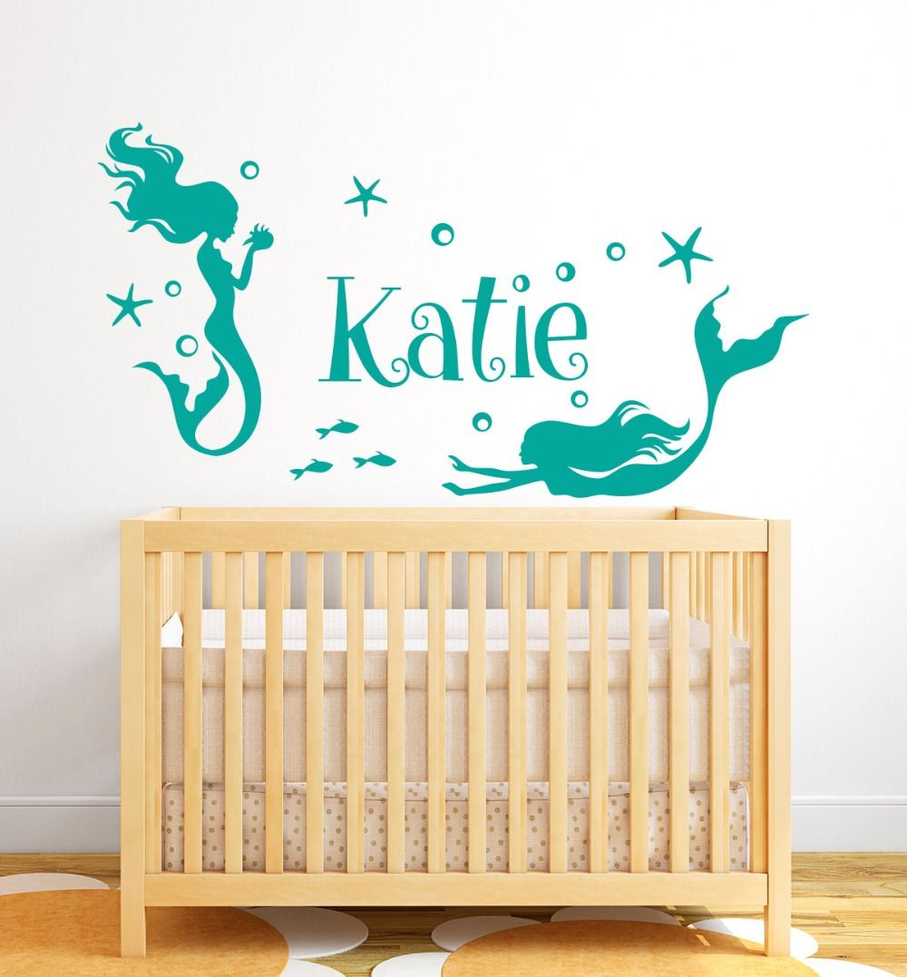 Beautiful Mermaid Nymph Wall Decal Vinyl Personalized Name Wall ...