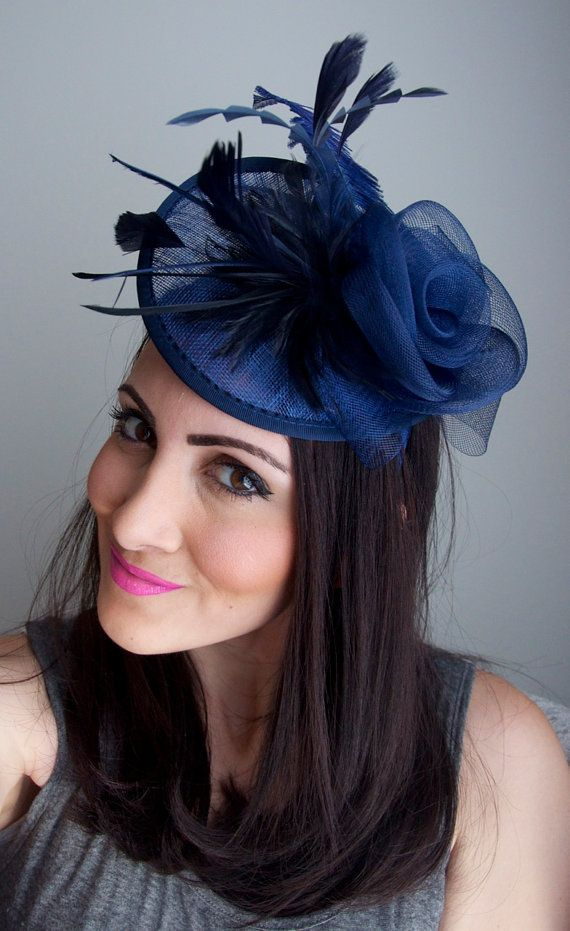 Navy Blue Fascinator - Kate Mesh Couture English Hat Fascinator Headband