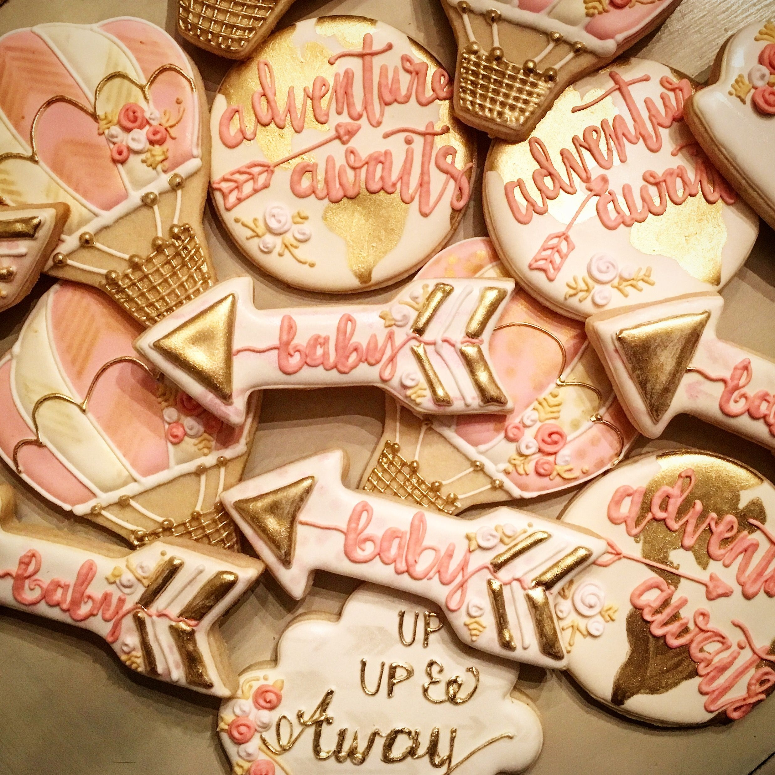 Adventure Awaits Baby Shower Cookies Tinytudorcookies Adventure Awaits Baby Shower Adventure Baby Shower Baby Girl Shower Themes