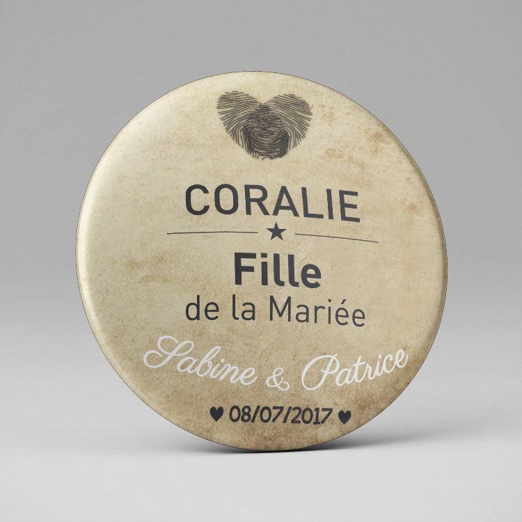Badge aimant personnalisé Mariage / Plan de table Empreintes + coeur