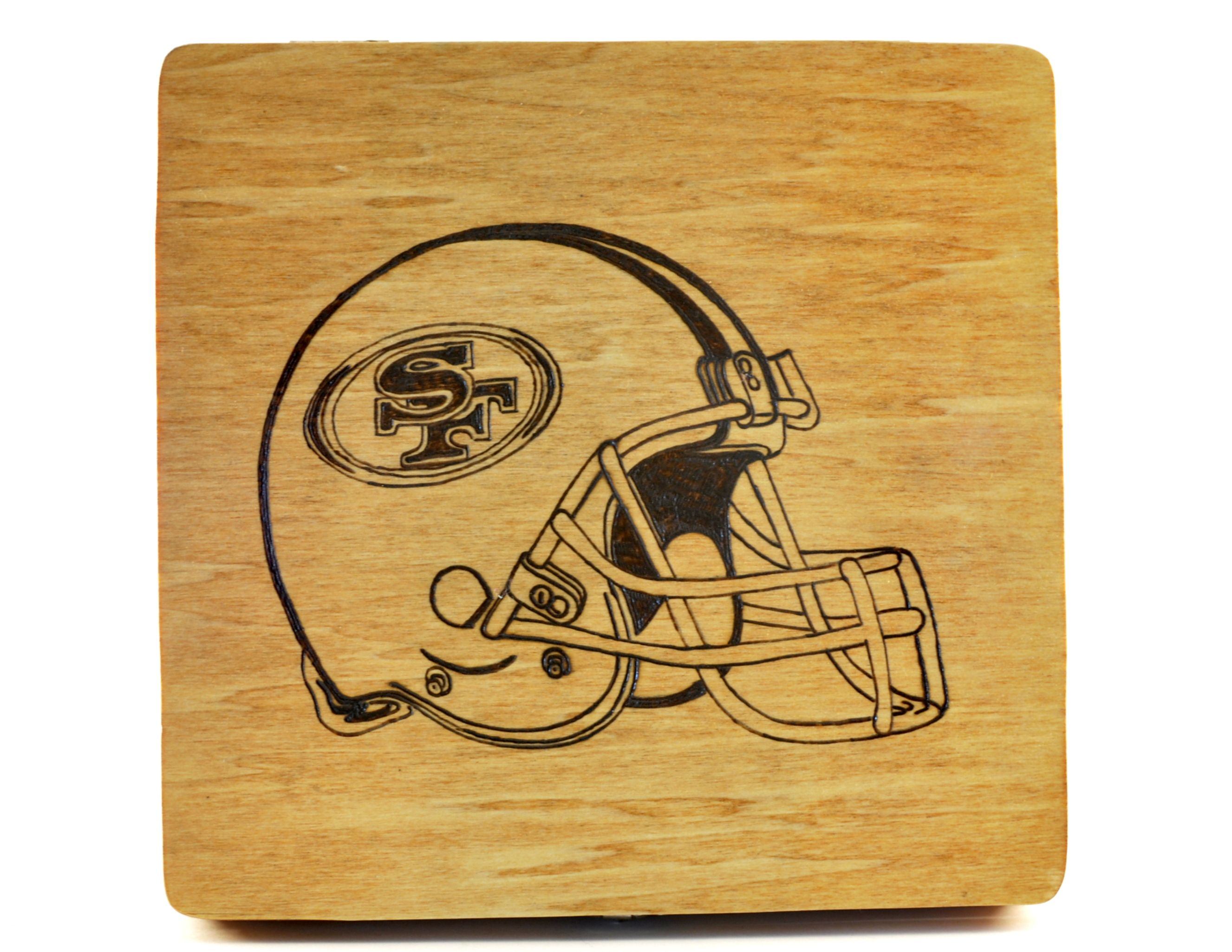San Francisco 49ers wood burned box I can add your favorite sports ...