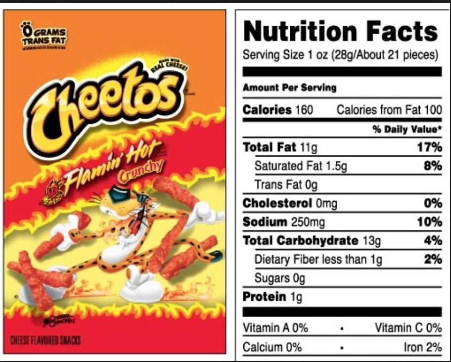 Warm Tones Nutrition Facts Label Nutrition Labels Cheetos