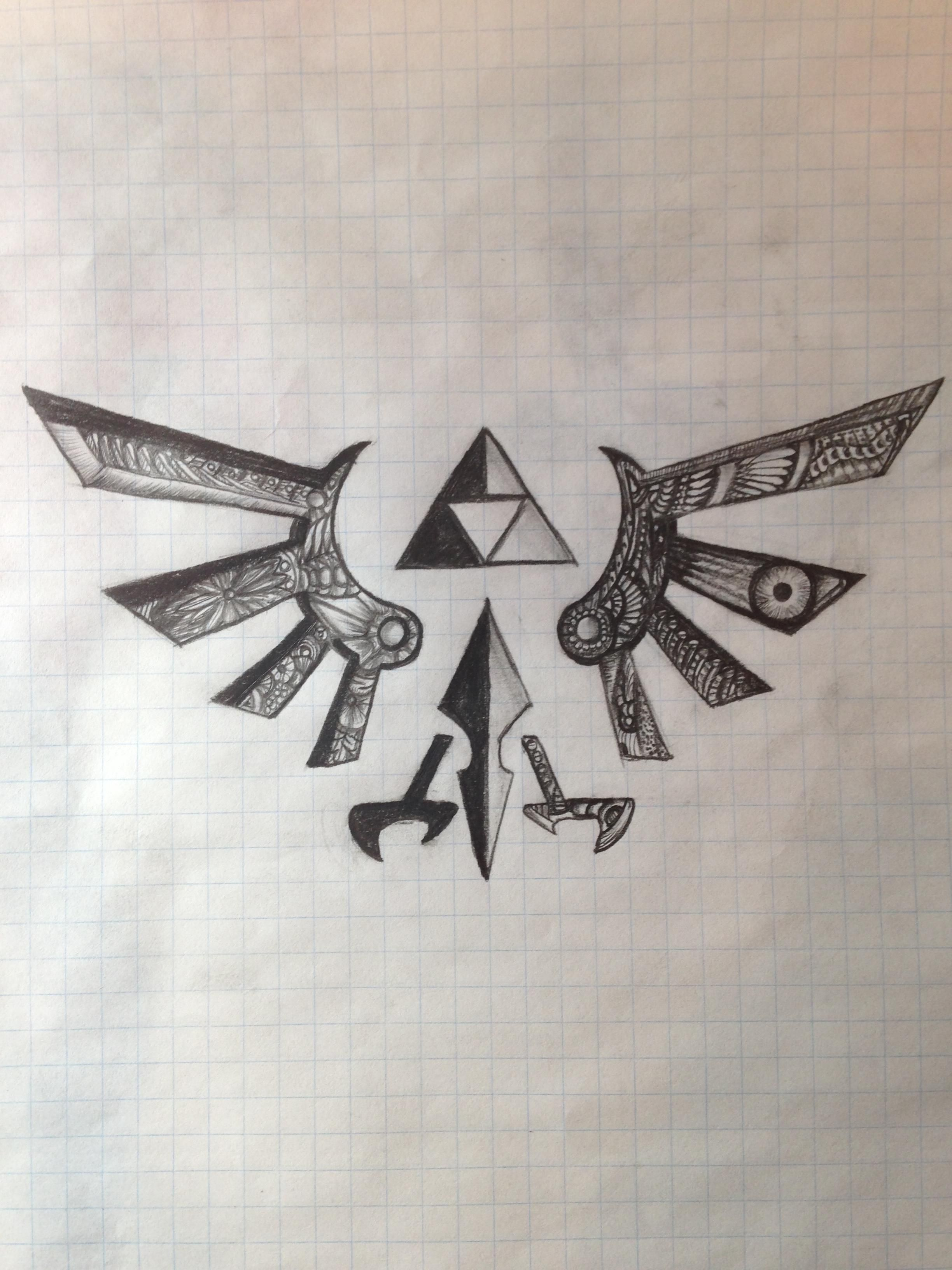 triforce drawing via reddit user sirgrapes video game