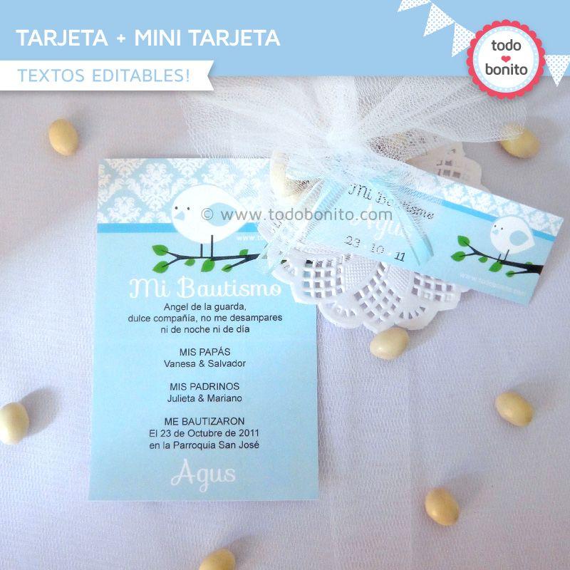Tarjeta Bautismo Souvenir Invitaciones Para Bautizo