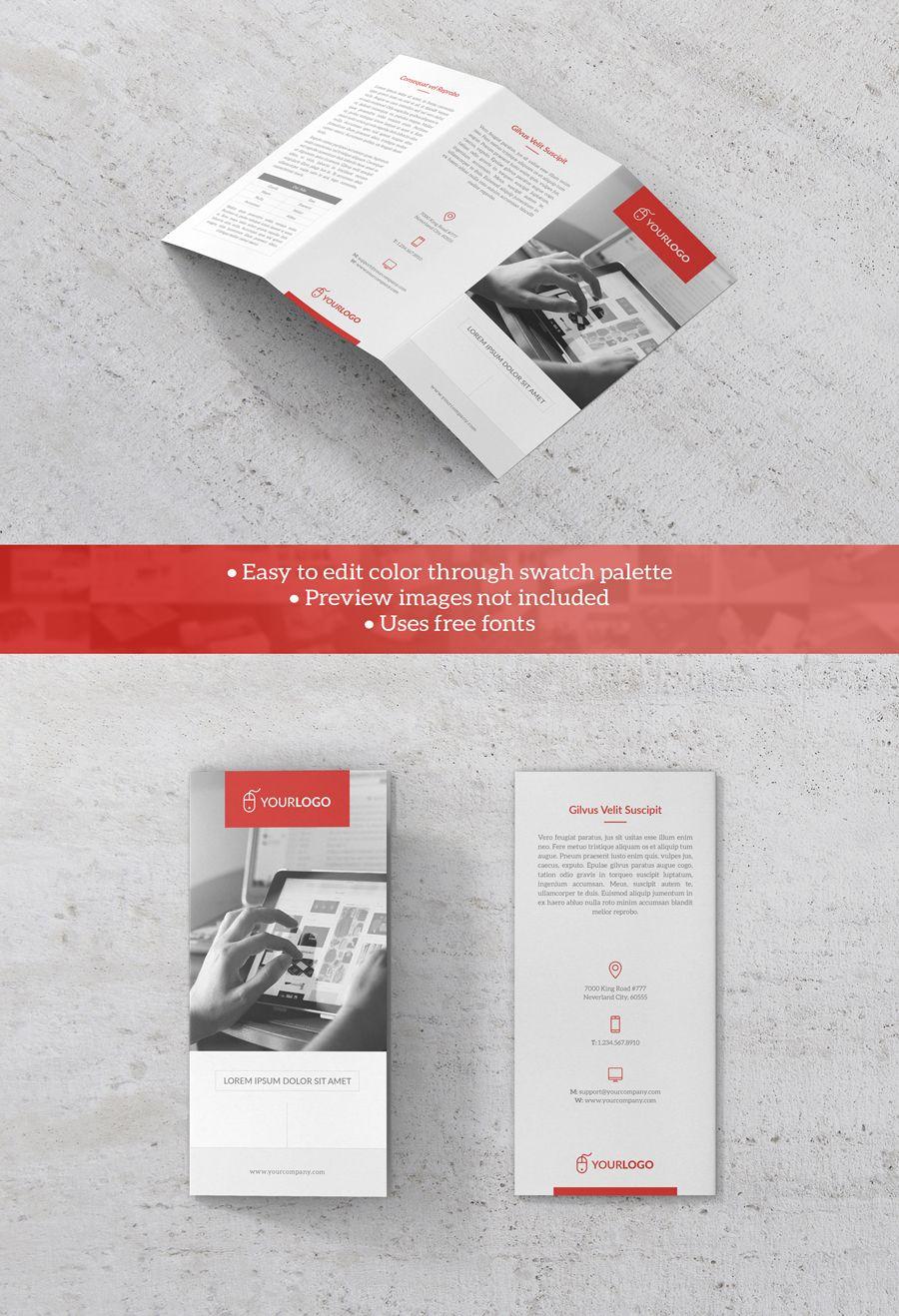 Free Clean Trifold Brochure Template   Illustrator   Pinterest