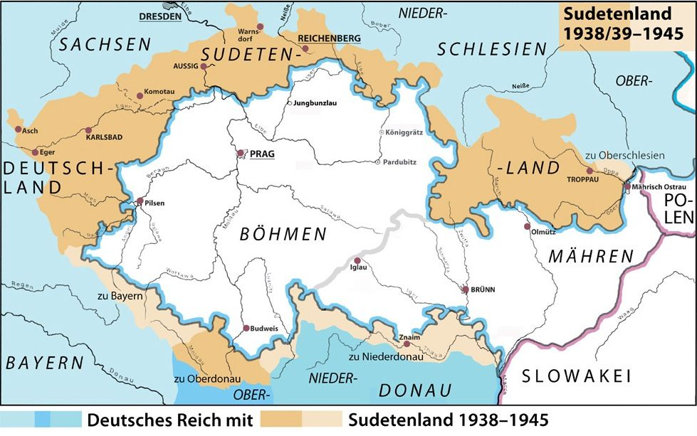 German Map Of Sudetenland As A Region Of The 3rd Reich During Wwii
