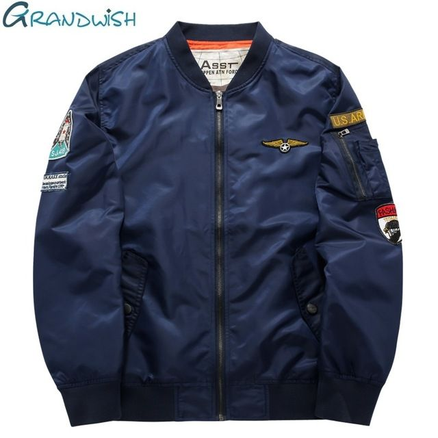 ac47c2148 Special offer Grandwish Ma-1 Flight Bomber Jacket Men 6XL Patches ...