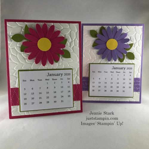 Stampin Up Calendar Card Idea Made With Daisy Punch And Petal Burst Embossing Folder Jeanie Stark Sta Calendar Kit Card Making Inspiration Gift Card Holder