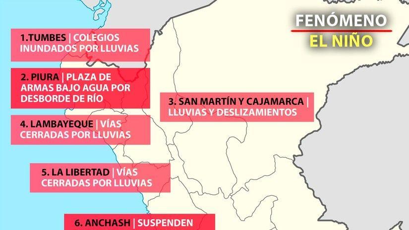 Mapa de las consecuencias del Fenómeno El Niño en Perú