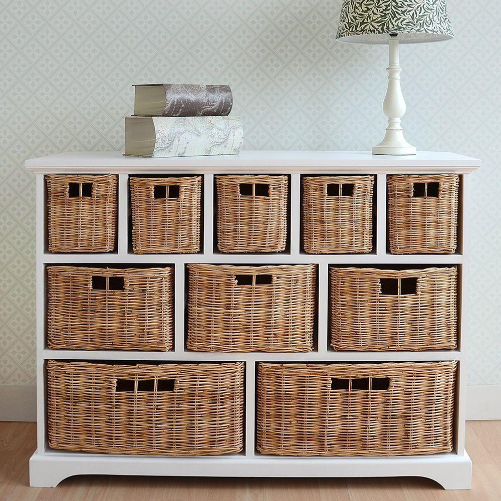 Tetbury Wide Storage Chest With Wicker Baskets Large Storage Unit Assembled Wicker Baskets Storage Wicker Storage Baskets
