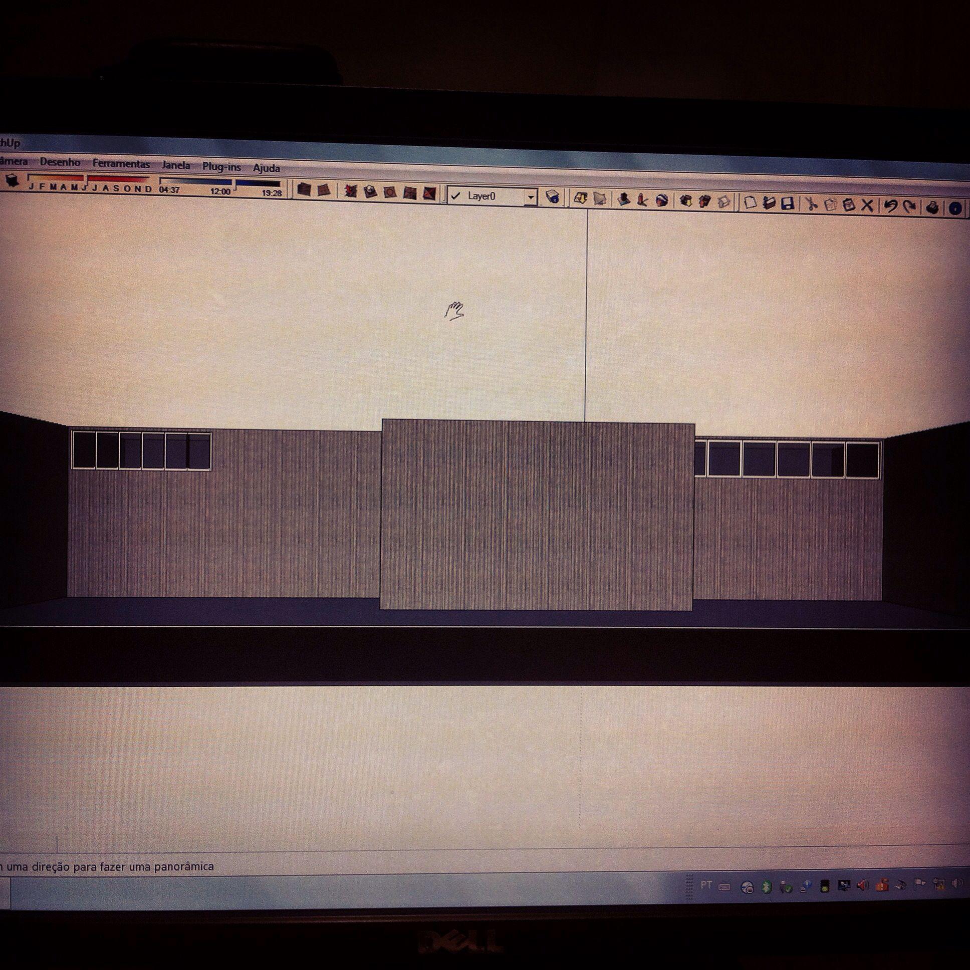 Perspectiva digital do projeto de casa pátio para a faculdade.