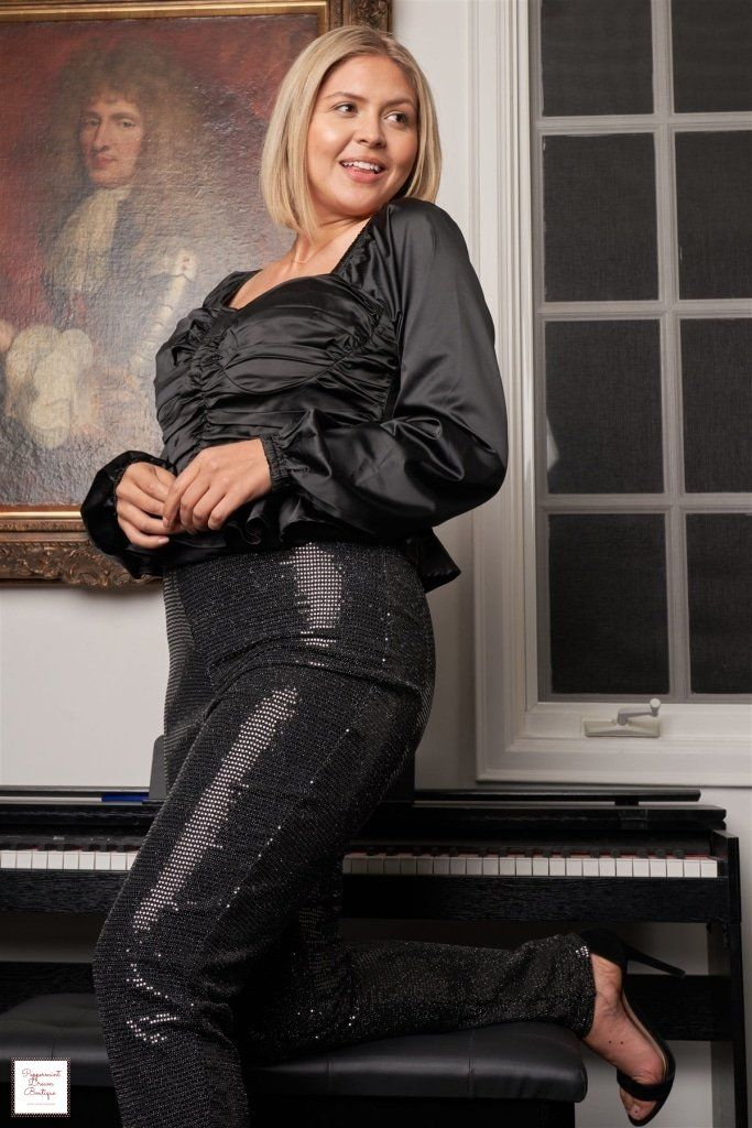 Best 12 Black Satin Pleated Long Puff Sleeve Corset Crop Top If you're looking for a chic holiday look, party and night