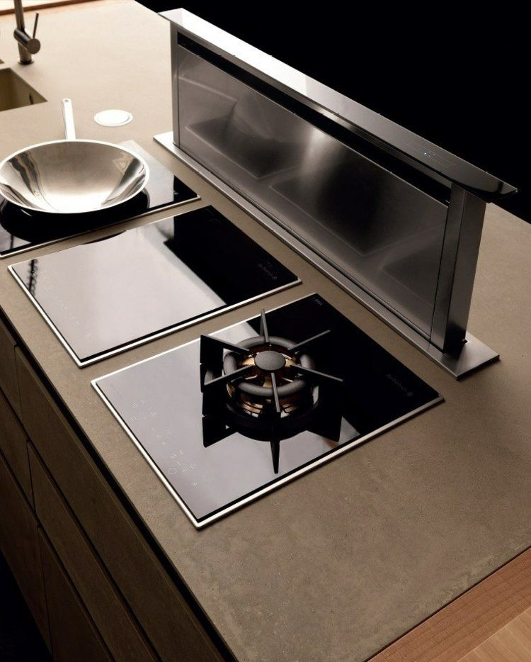 Abzugshaube Kochinsel kochinsel mit ausfahrbare abzugshaube und kochplatten küche