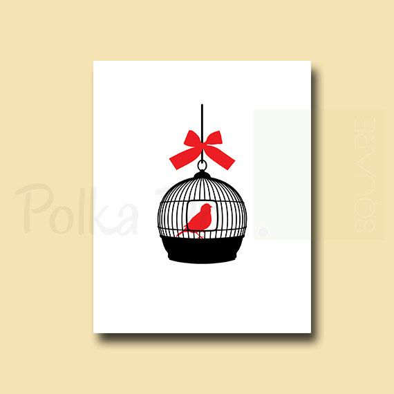 Bird cage wall art Printable Instant by PolkaDotSquareDesign, $10.00 ...
