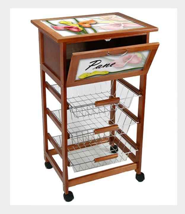 Carrello da cucina in legno bianco con porta bottiglie cassetto e ruote 3 piani ruote legno - Carrello da cucina ikea ...