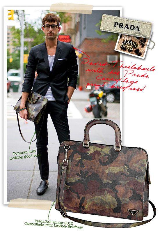 Prada Fall Winter 2010 Mens Camouflage Print Leather Briefcase