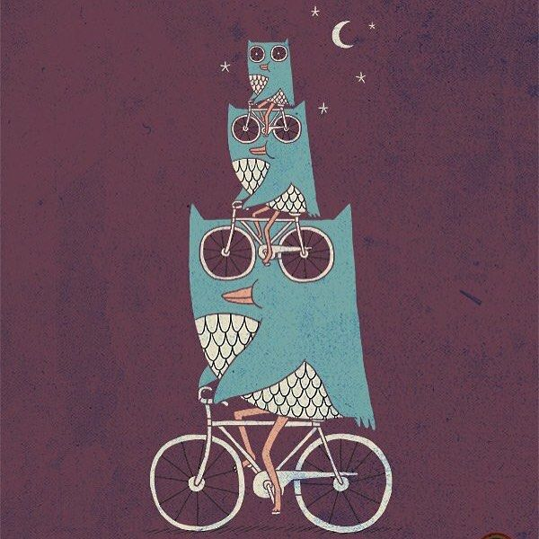 Night Riders _________________________ Doodle everyday by Lim Heng Swee @limhengswee http://ift.tt/LFlevg #owl #bike #ilovedoodle by limhengswee