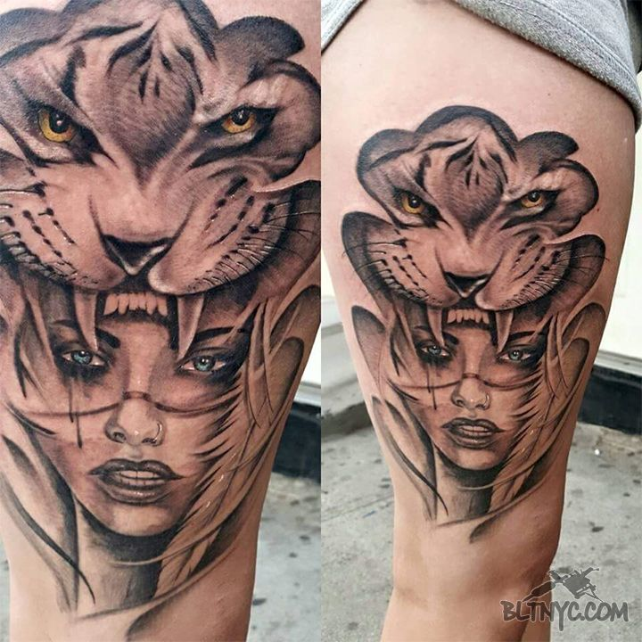 Tiger Headdress Sad Giirl Tattoo by Carlos at Body Language Tattoo Shop NYC #tigertattoo #legtattoo #tattoo #tattooartist