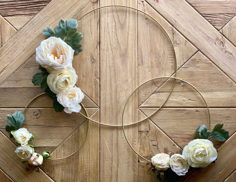 Photo of White Rose & Ranunculus Hoop Wreath,Gold Metal Ring Wreath, Floral Hoop Wreath – Set of 3