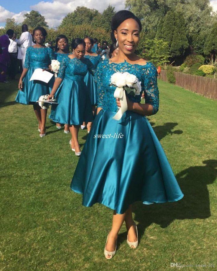 Teal Tea Length Bridesmaid Dresses With Half Sleeve Vintage Lace A