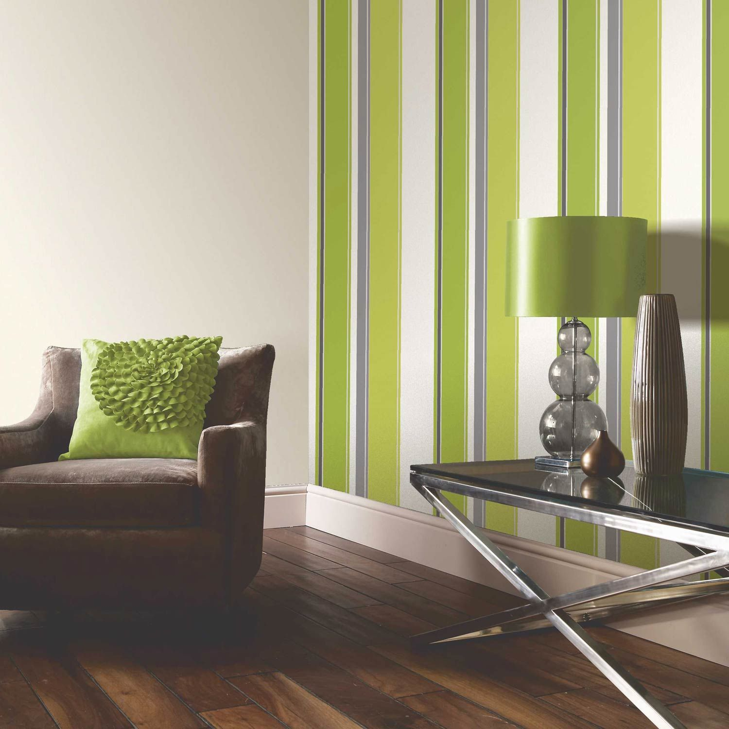 Buy the Carina Lime Green Striped Wallpaper at The Range