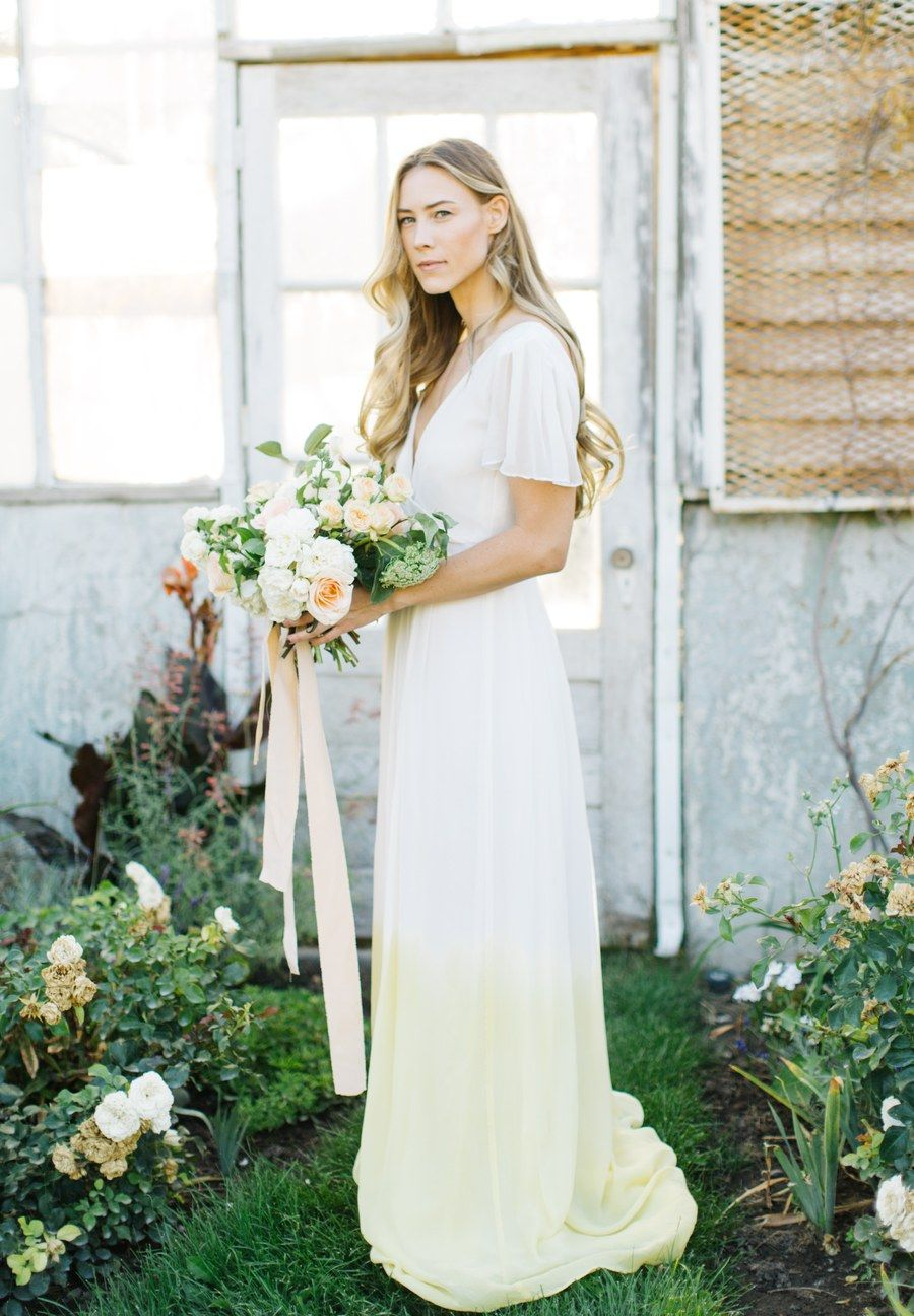Launa looked downright dreamy in her dip-dyed Janay Marie dress when she married fiancé Nate in a garden-style ceremony at the Liberty Park Greenhouse in Salt Lake City.