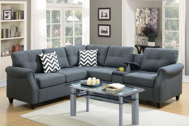 Best Poundex F6594 2 Pc Paulina Blue Grey Linen Like Fabric 640 x 480