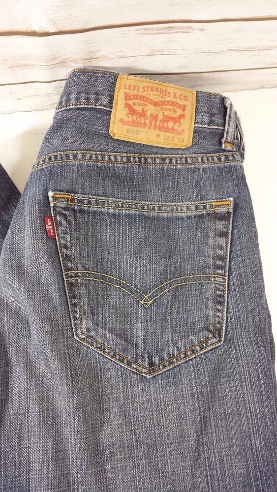 d4762f040daf6 Mens LEVI S 550 Jeans Relaxed Fit size (Tag 32 x 34) Measures 34x32   Levis550  Relaxed