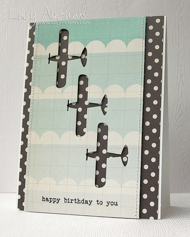 """Punched out images over patterned paper. Simple idea. You are """"plane"""" awesome."""