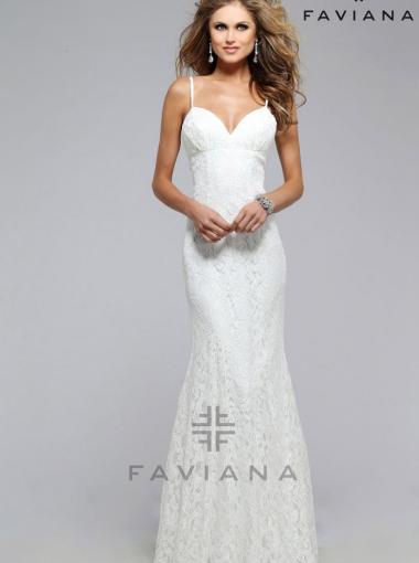 Illusion lace overlay v-neck White Long Prom Dress FAVIANA 7439 ...