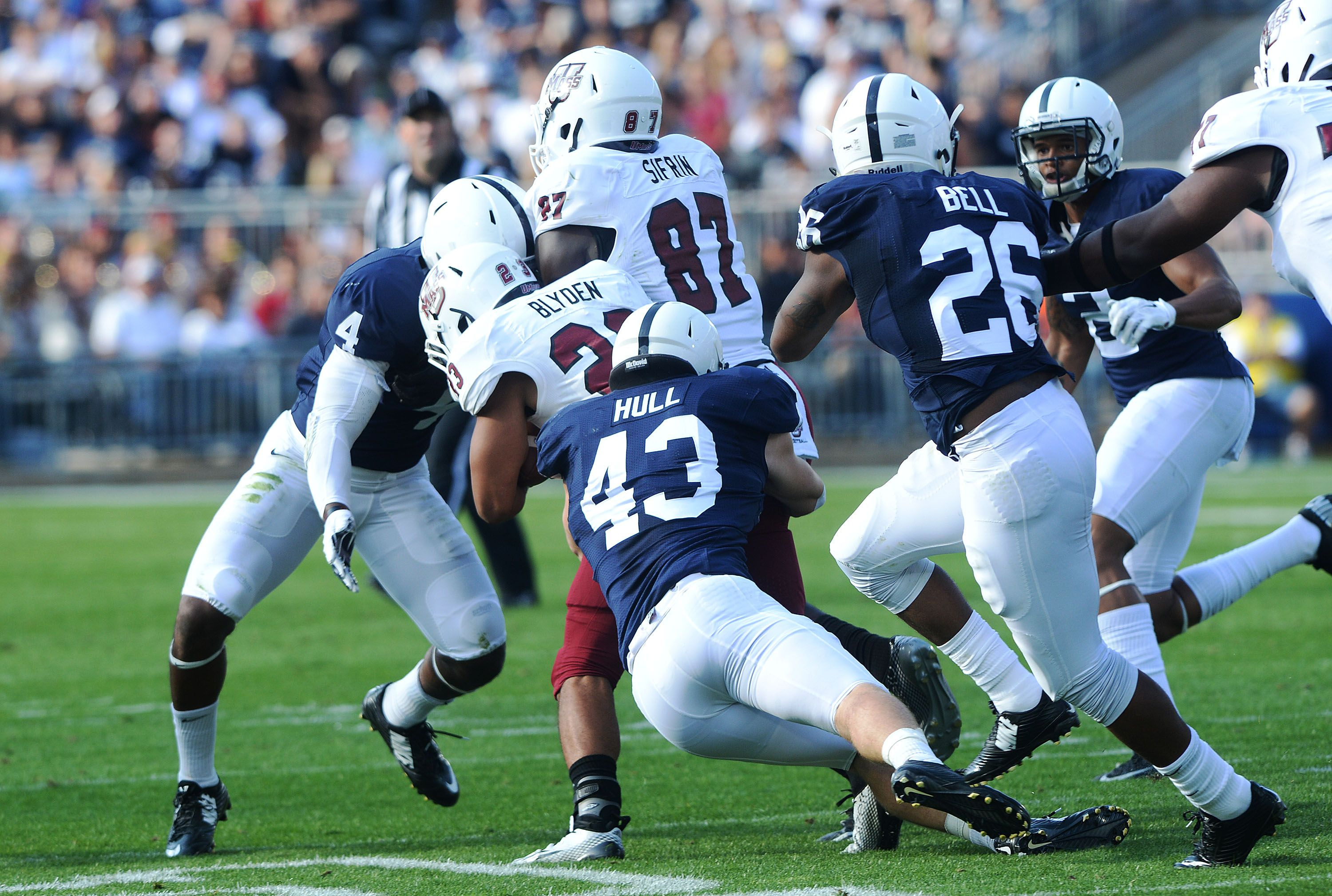Penn State Football 2014 Linebacker Mike Hull Stops Umass Receiver Jean Sifrin Football Helmets Football Athlete